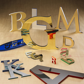 Gemini Metal Laminate on Acrylic Sign Letters